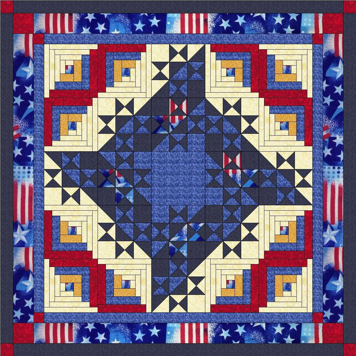 Easy Quilt Kit Patriotic Friendship Flag/Exped Ship by Material Maven
