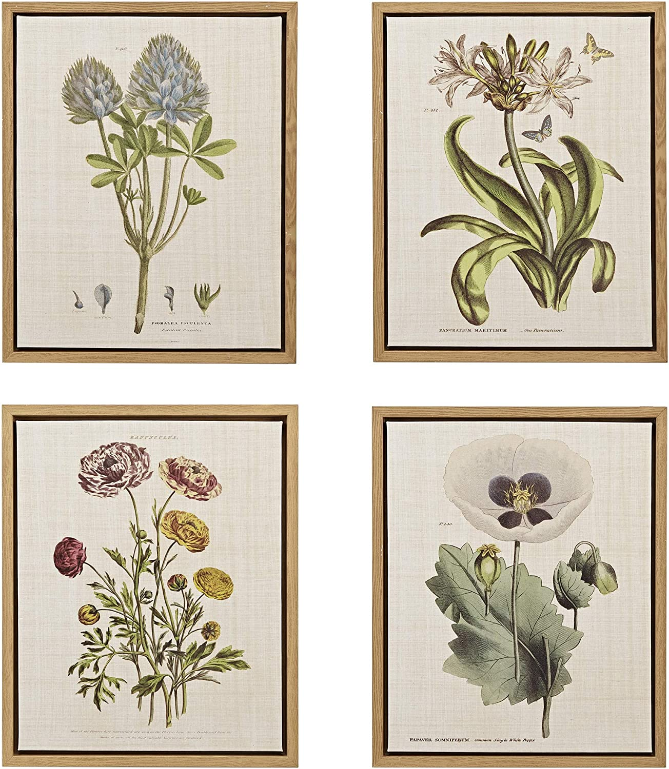 MARTHA STEWART Herbal Botany Wall Art Living Room Floral Linen Canvas Home Accent Country Lifestyle Bathroom Decoration, Ready to Hang Poster Painting for Bedroom, 17.84
