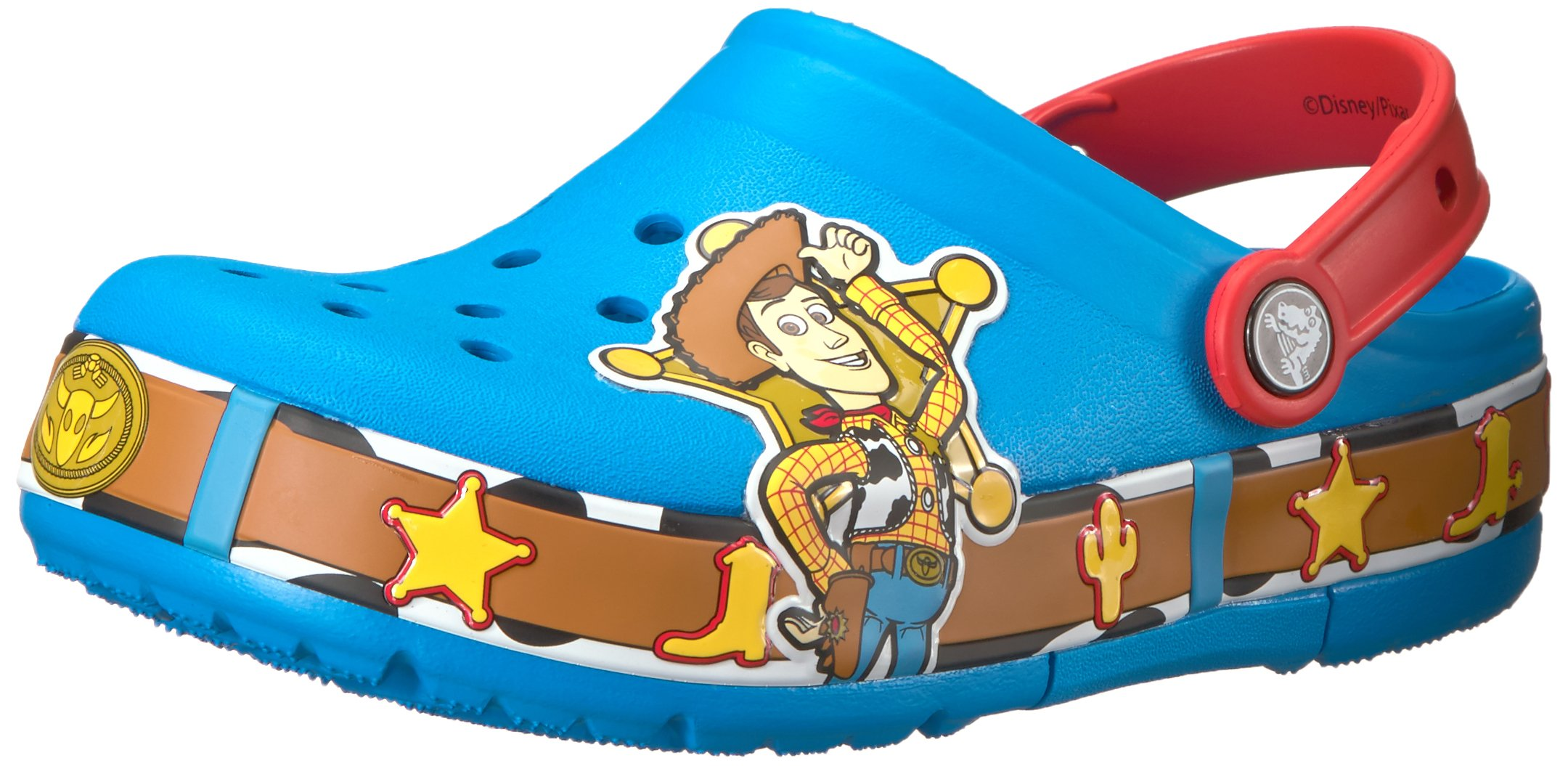 crocs Unisex-Kids CB FL Woody Lights Clog K, Turquoise, 9 M US Toddler