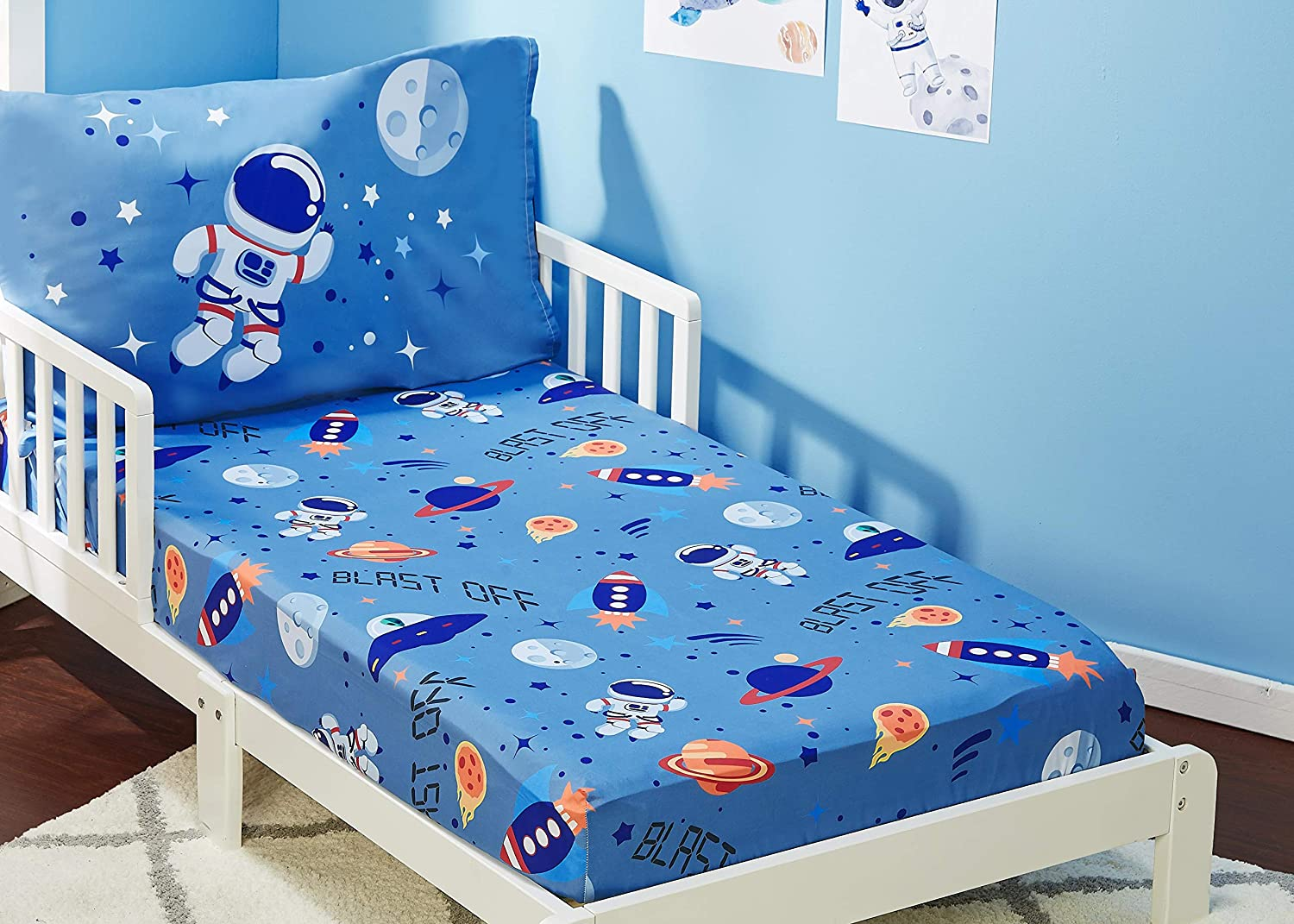 EVERYDAY KIDS 3-Piece Toddler Fitted Sheet Breathable and Hypoallergenic Boys Toddler Sheets Set Soft Microfiber Flat Sheet and Pillowcase Set Choo Choo Train Toddler Bed Sheets