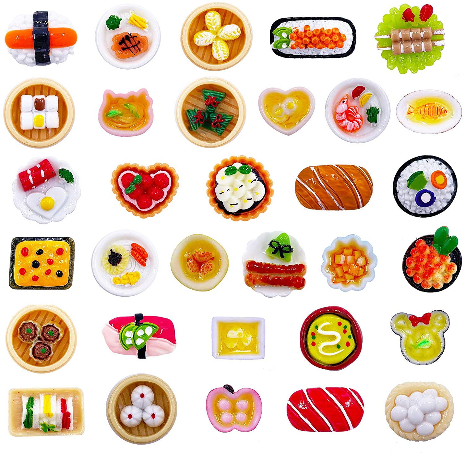 32pcs 1:12 Play Food Mini Toy Chinese Sweet Soup Syrup Noodle Bowls Dollhouse Accessories Miniature Sushi Figurines Decoration Lovely Breakfast Sausage Bun Dumplings Shaomai Micro Landscape (32Food)