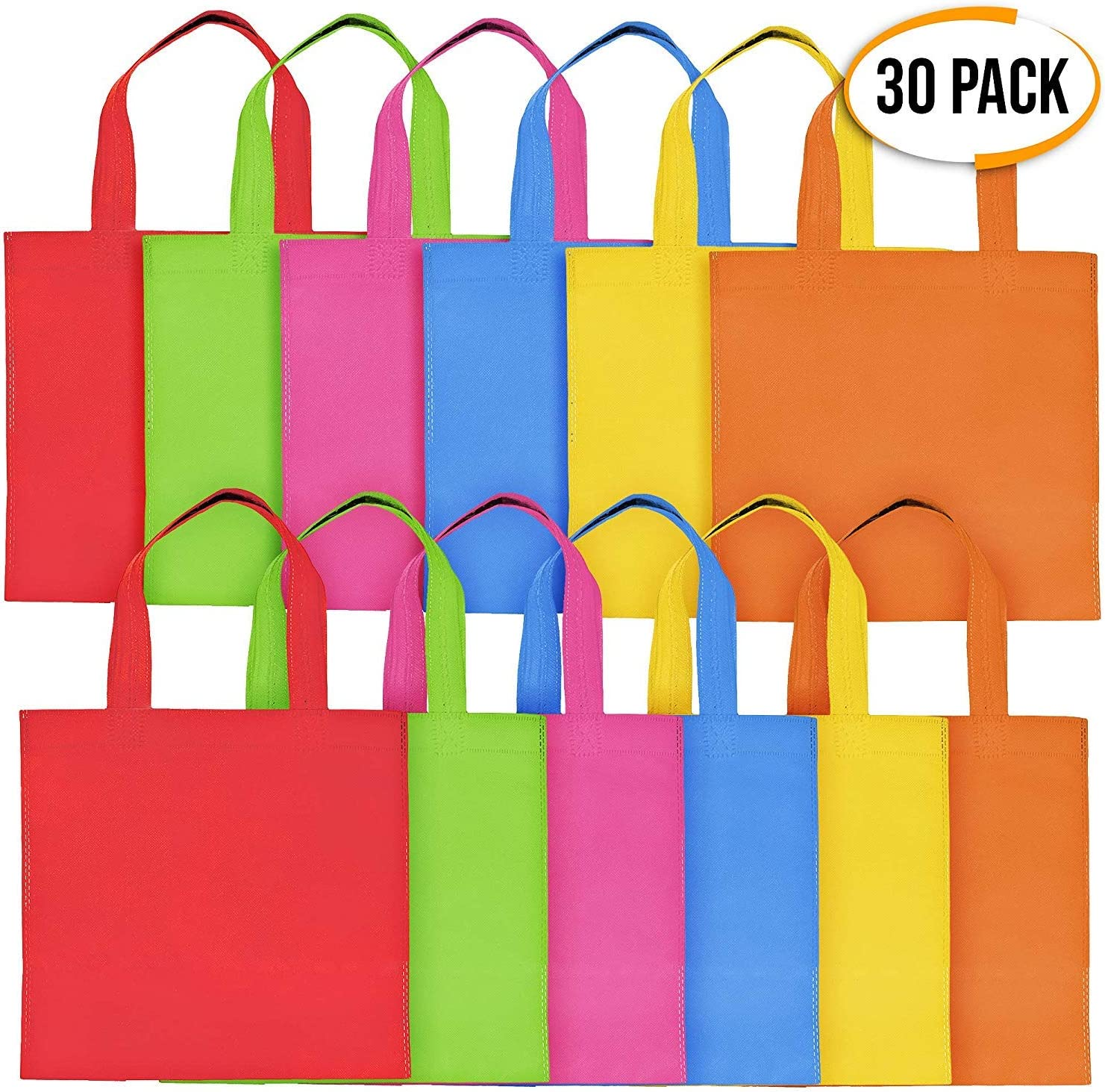 THE TWIDDLERS 30 Pack Bolsas No Tejidas con Asas para Niños - Bolsa De Cumpleaños Colores Variados Bolsos De Dulces Juguetes Caramelos - Artículos para Fiestas Party Favor Bolsas De Regalo