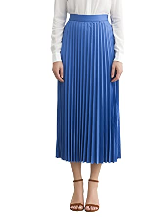 c84b8a4101b Simple Retro Women's Pleated Skirt High Waisted A Line Casual Midi Skirts  for Spring