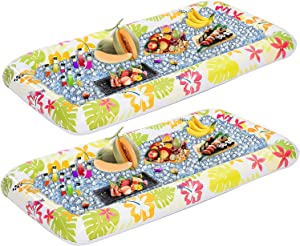 Luau Themed Inflatable Serving Bars with Drain Plug (2 Sets), Inflatable Cooler Ice Buffet Salad Serving Trays for Indoor Outdoor Summer Beach Luau Party, Picnic, and Pool Party