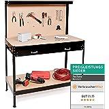 TecTake Établi d'atelier 160 x 60 x 120 cm en bois et acier avec panneau à outils et tiroir de rangement