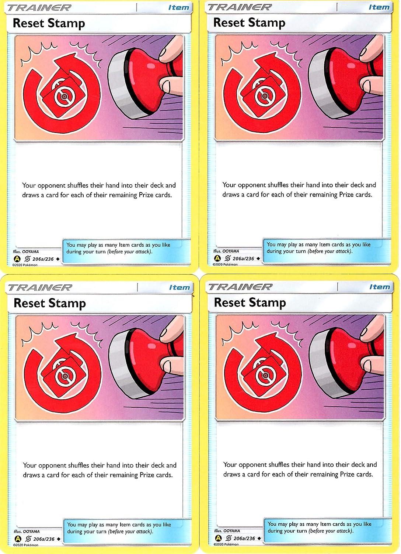 206//236 Uncommon Sun and Moon Pokemon 4x NM-Mint Regular Pokemon Reset Stamp
