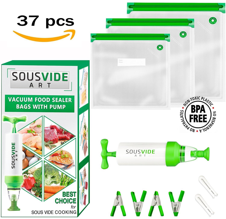 Sous Vide Bags 30 Reusable Vacuum Food Storage Bags Sous Vide Bag Kit 3 Sizes BPA Free (Premium) SousVideArt