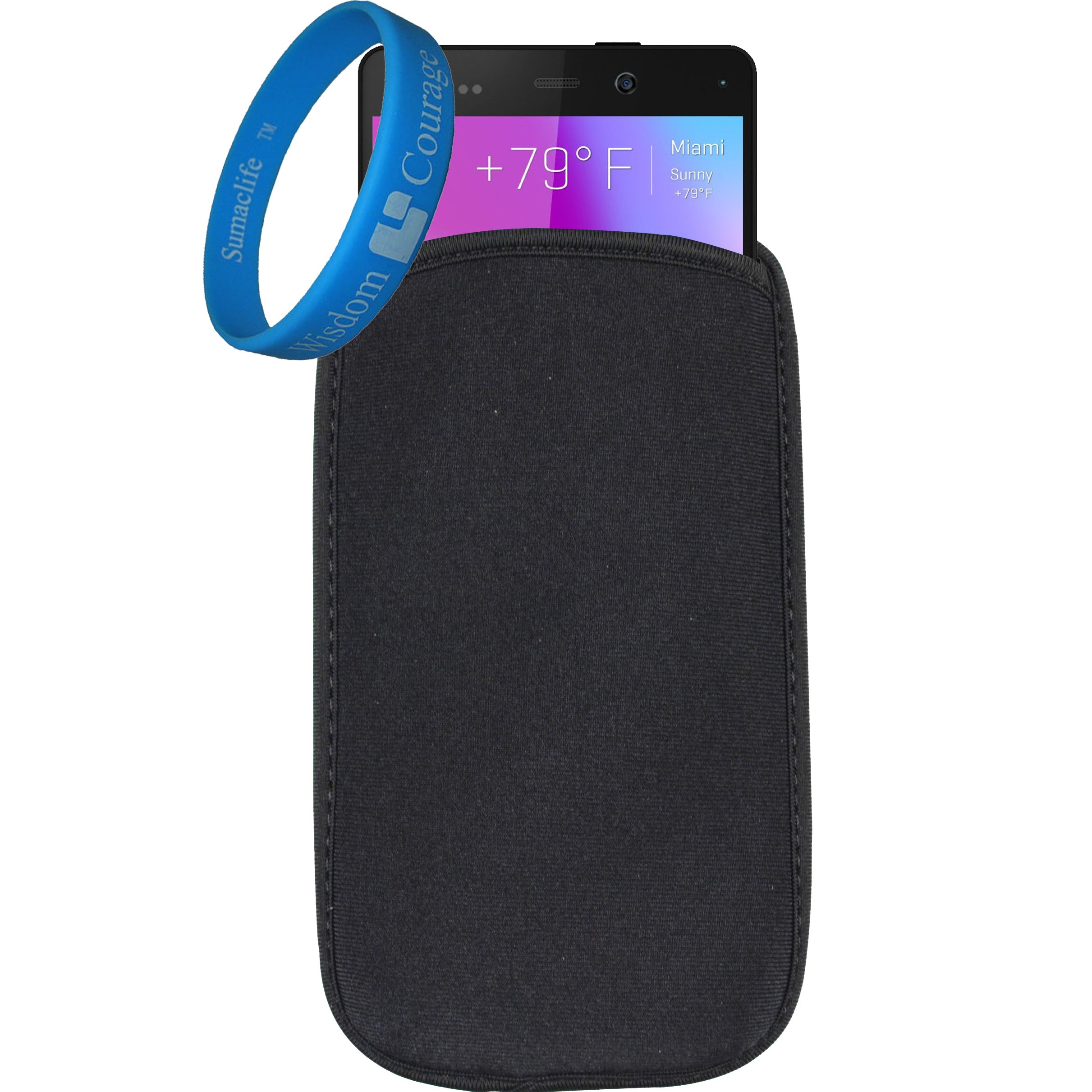 Universal Neoprene Protective Shock Absorbing Proof Pouch / Sleeve / Skin / Cover for BLU Life Play 2 / Studio C Mini / Life Pure Mini / NEO 4.5 Fit up to 5.1 inch Ios Android Windows smart Phone (Black) + SumacLife Wisdom Courage Wristband