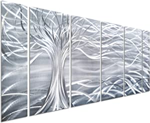 "Pure Art Willow Tree of Life Metal Wall Art, Abstract Silver Sculpture Decor 3D Wall Art for Modern and Contemporary Decor, 6-Panels 24""x 65"" for Indoor and Outdoor Spaces, Handmade Original Design"