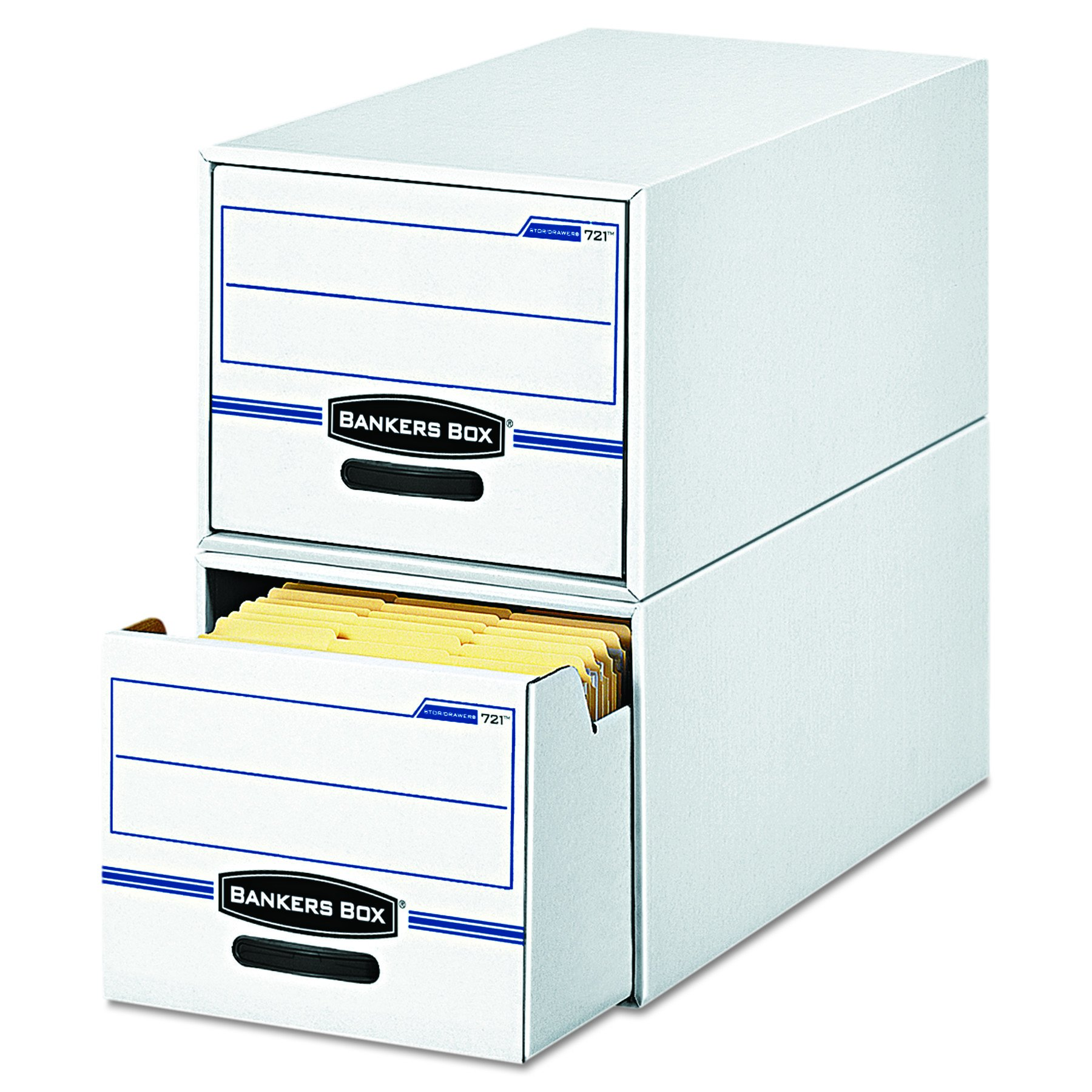 Bankers Box 00722 STOR/DRAWER File Drawer Storage Box, Legal, White/Blue (Case of 6)