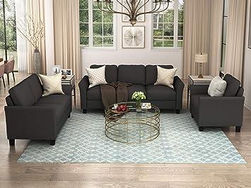 Amazon.com: Harper & Bright Designs Living Room 3 Piece Sofa Couch Set,3 Seats Loveseat Single Chair Sectional Sofa Set, Black: Furniture & Decor
