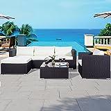 COSTWAY 6 PCS Rattan Sofa Set Garden Outdoor Wicker Patio Furniture Indoor W/Cushions