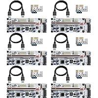 MZHOU 6 Piezas VER01010-X Tarjeta Vertical PCI-E 1X a 16X, con Cable de Extensión USB 3.0 de 0,6 m, para Minería Bitcoin…