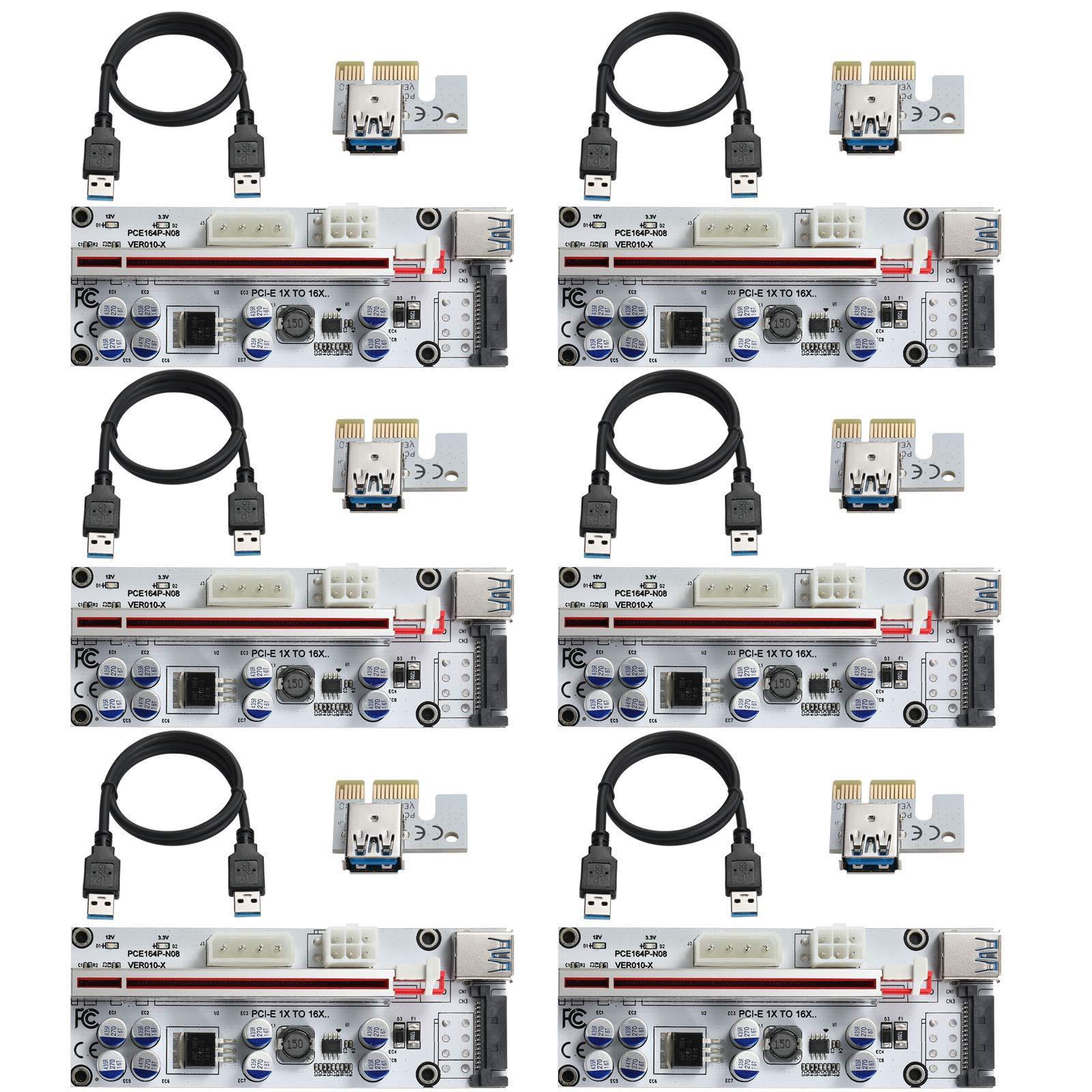 6 Pci-e Riser VER 010S-X Cripto mineria Con Cable SATA MZHOU