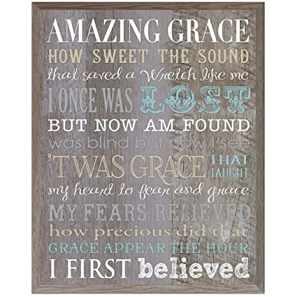Amazon.com Amazing Grace wall art sign Anniversary Gift for husband wife Parents best friend and Christian gift ideas 12 Inches Wide X 15 Inches High ...  sc 1 st  Amazon.com : amazing grace wall art - www.pureclipart.com