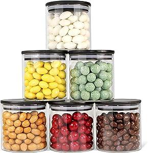 Urban Green Glass Jars with Black Lids, Glass food storage sets with airtight black lids, Glass Canisters Sets with Bamboo Lids, Glass Storage Containers with Bamboo Lids (6 Sets of 20oz)