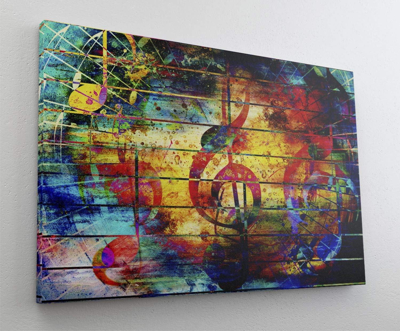 Gemälde Musik Bunt Notenschlüssel Leinwand Canvas Bild Wandbild Kunstdruck L2146