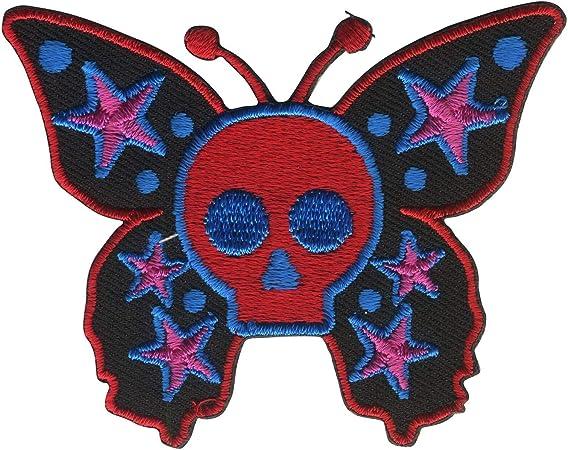 Freak Scene parche - Calavera Mariposa rojo lila azul: Amazon.es: Hogar
