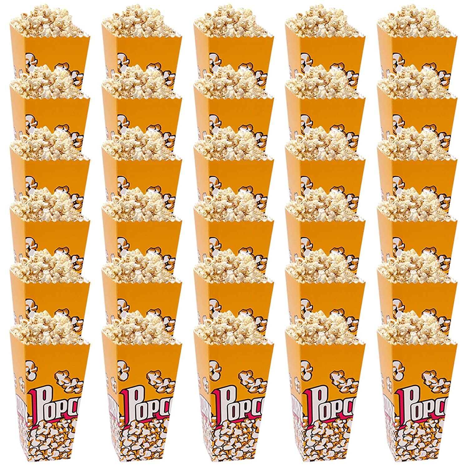 Popcorn Buckets, 32 OZ Popcorn Boxes 30 PCS Fashionable Yellow Popcorn Style 6.3×3.5×2.5 inches Reusable Large-Capacity Boxes in Movie Night or Carnival Party for Popcorn
