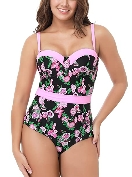 ddaac0def3 Black Pink Floral Pretty Cute One Piece Swimsuit Plus Size Swimming Costume  at Amazon Women's Clothing store:
