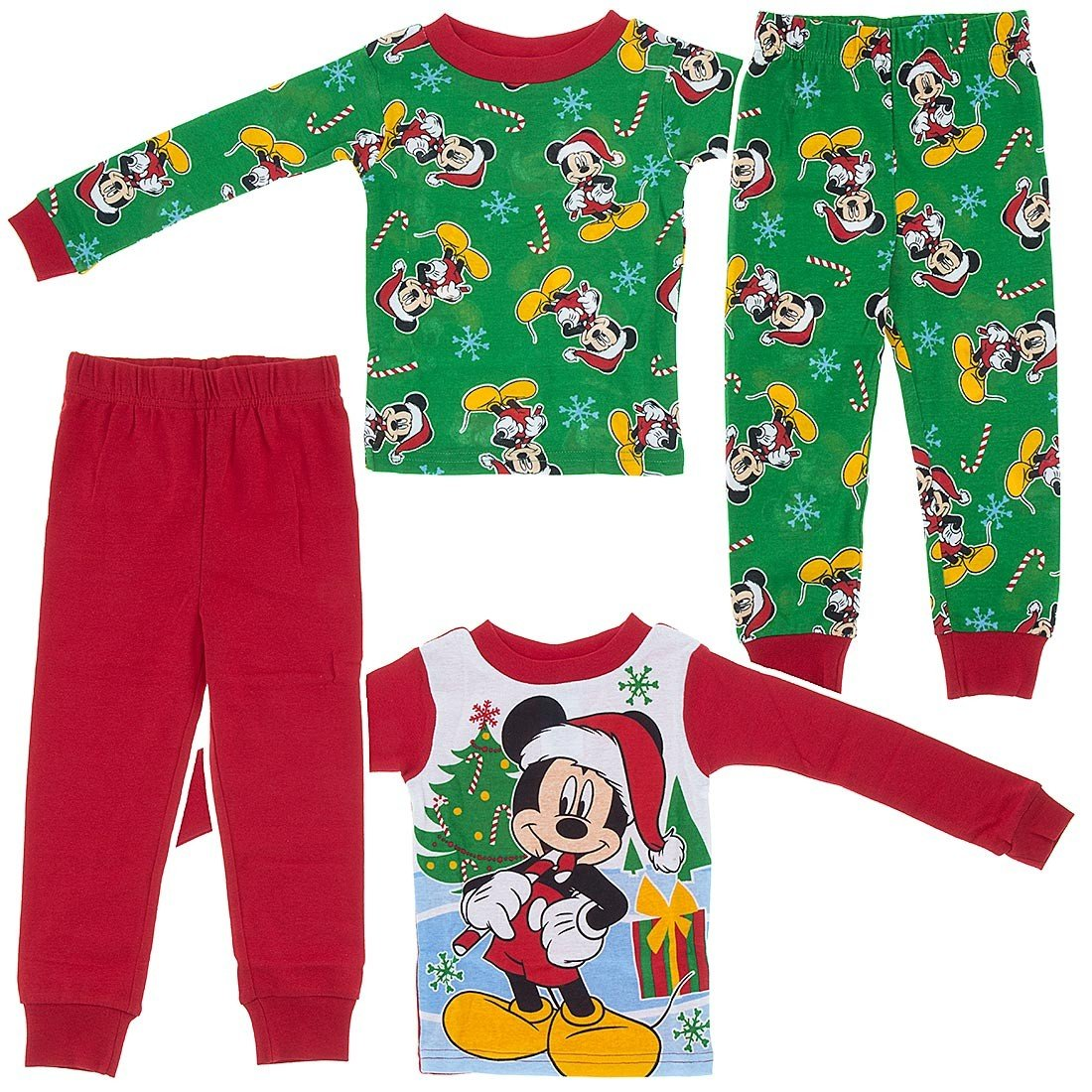 Disney Mickey Boy 4PC Christmas Long Sleeve Tight Fit Pajama Set Size 3T