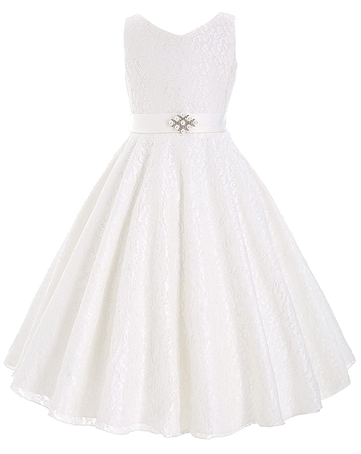 Kids 1950s Clothing & Costumes: Girls, Boys, Toddlers GRACE KARIN Lace Flower Girl Dress V Neck Girls Pageant Wedding Party Ball Gown $34.29 AT vintagedancer.com