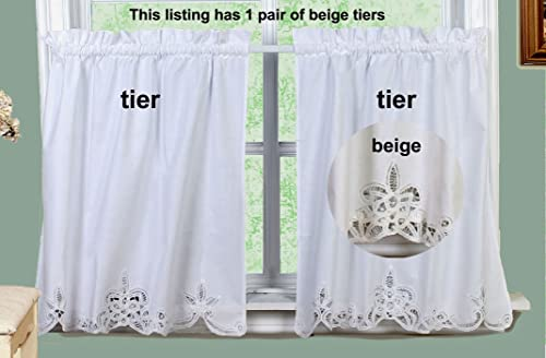 Creative Linens Battenburg Lace Kitchen Curtain 30 L Tiers Ecru Beige