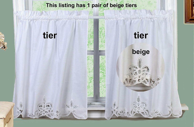 Amazon Creative Linens Battenburg Lace Kitchen Curtain 30 L Tiers ECRU BEIGE Home