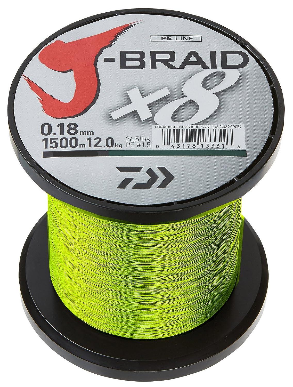 Daiwa J-Braid X8 braided Fishing line 1500m chartreuse