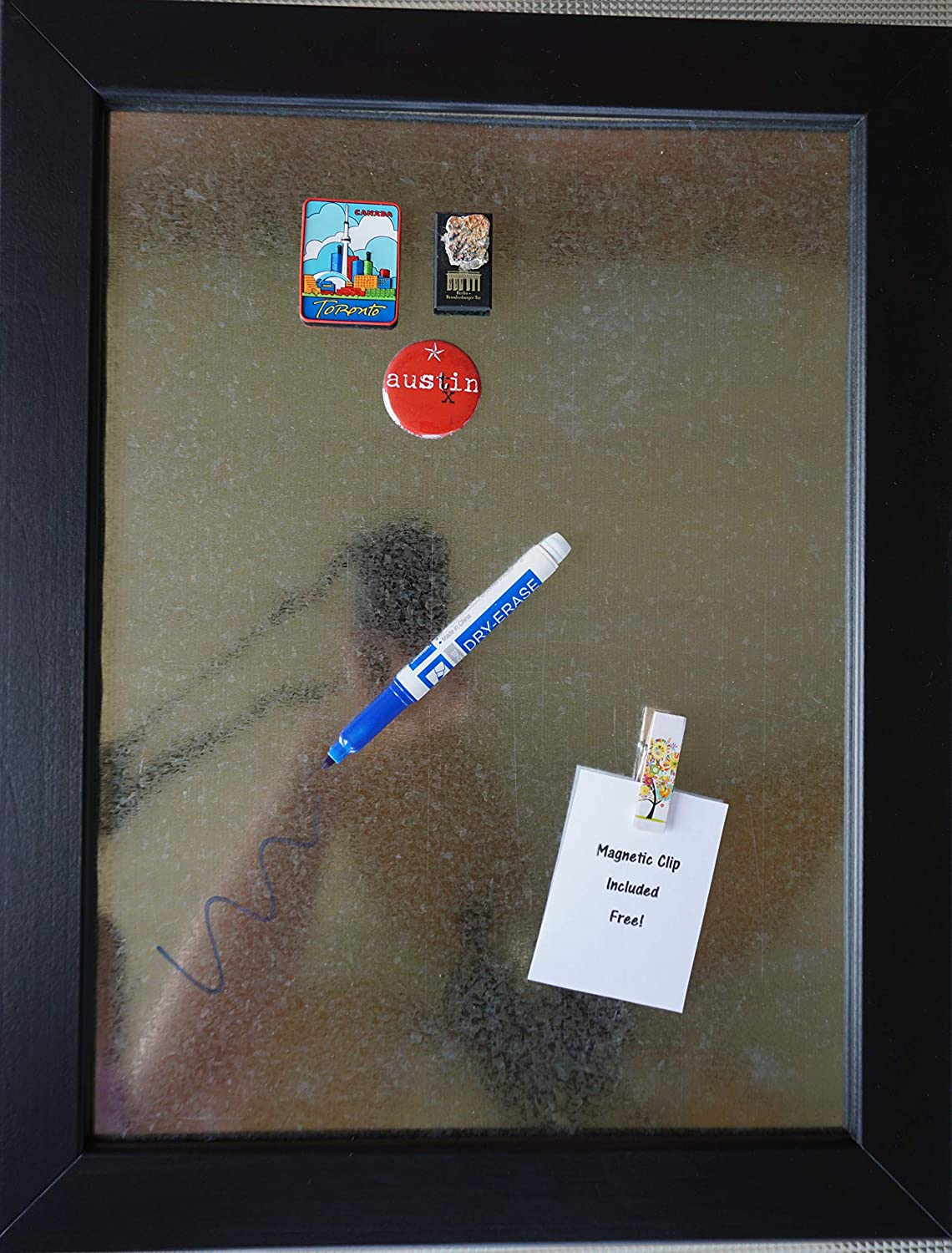 Art Prints Inc Magnetic Dry Erase Memo Board w/Free Magnet | Galvanized Black Wood Frame | Decoration & Wall Art Indoor & Outdoor Use | Complete Wall Organization Solution | 14x18 Great Gift!