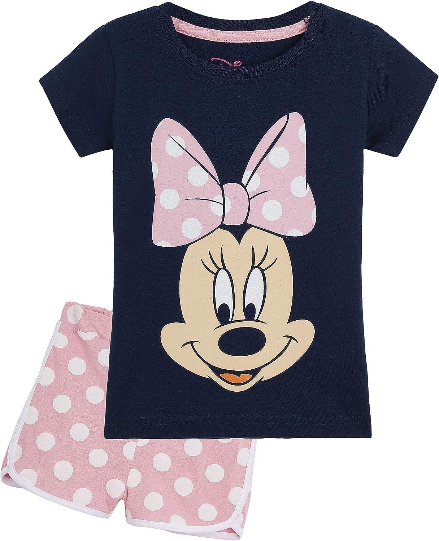 Disney Minnie Mouse Pijama Niña Verano, Ropa de Niña Vacaciones Algodon 100%, Conjuntos de 2 Piezas Top y Pantalon Corto Niña, Regalos Originales para Niñas Edad 1-8 Años
