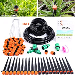 "Ohuhu Garden Drip Irrigation Kit, Automatic Drip Irrigation Set Micro Irrigation Systsm for Lawn, Greenhouse, Flower Bed, Patio, Plants Watering Adjustable Drip Kit 1/4"" & 2/5"" Distribution Tubing"