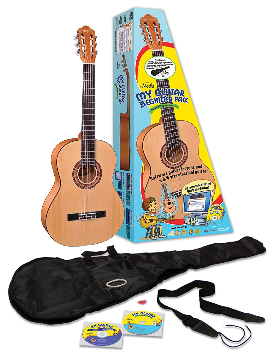 eMedia EG11131 3/4 Size My Guitar Beginner Acoustic Guitar Pack for Kids, Sequoia