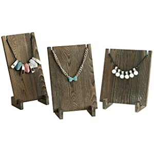 MyGift Vintage Style Dark Brown Wood Plank Retail Boutique Necklace Jewelry Display Stands, Set of 3