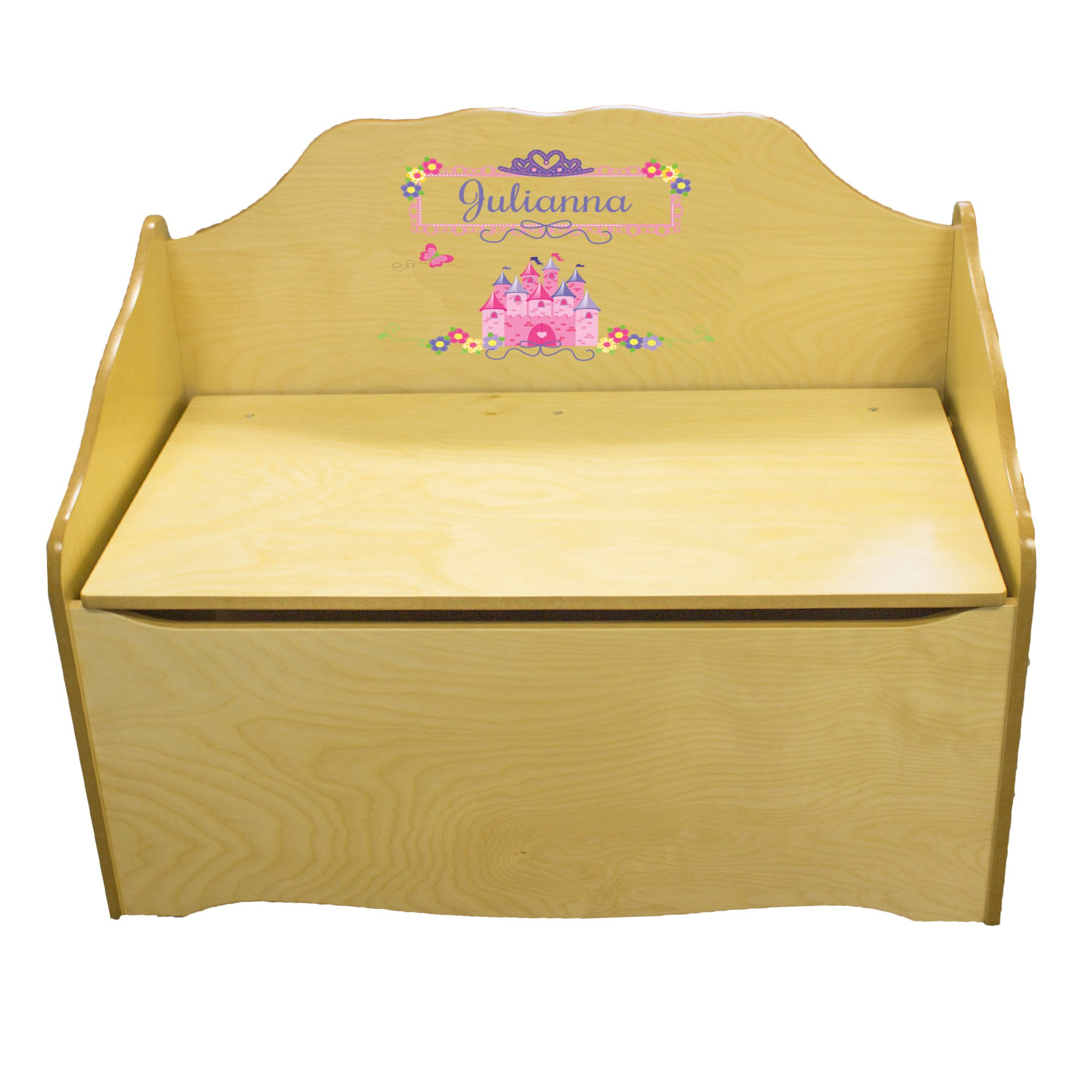 Personalized Princess Castle Childrens Natural Wooden Toy Chest