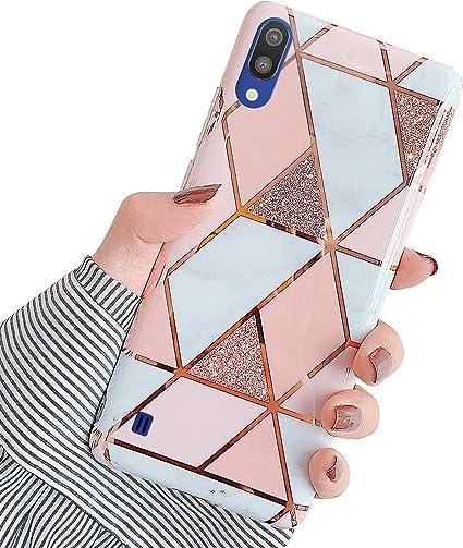 Brillante Bling Glitter Diamant Housse avec Support de Bague Ultra Mince Souple TPU Silicone Gel Bumper Etui,Argent QPOLLY Compatible avec Samsung Galaxy M10//A10 Miroir Paillettes Coque