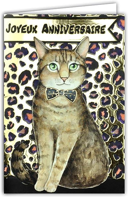 Carte Joyeux Anniversaire Chat Leopard Animal Nœud Papillon Noir Et Or Doree Feter Souhaiter Brillant Chic Tendance A La Mode Amazon Fr Fournitures De Bureau