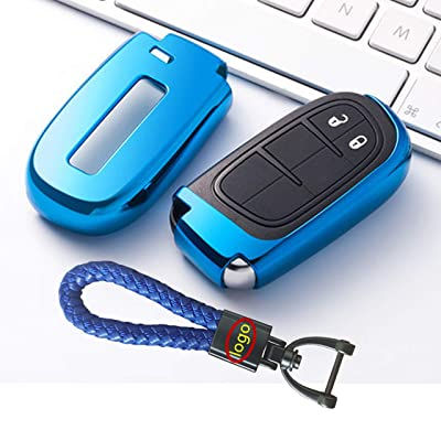 Smart Remote Keyless Entry Key Fob Premium Soft TPU Half Cover Protection Key Fob Cover With Key Chain Fit For Jeep/Dodge/Chrysler: Automotive
