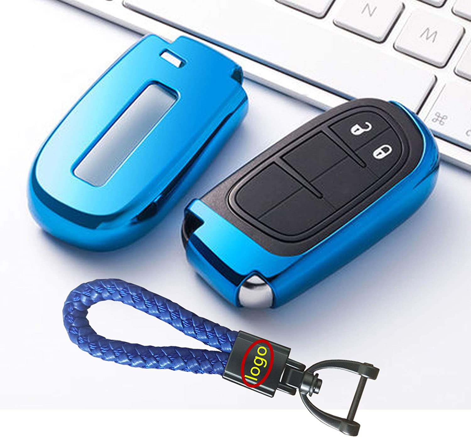 New Smart Keyless Entry Remote Key Shell Premium Soft TPU Half Cover Protection With Have Key Chain Fit For Jeep//Dodge//Chrysler