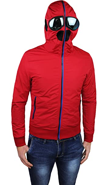 13bb8f54552b6 Giubbotto Giacca Uomo Rosso Casual Slim Fit Estivo Giubbino Moto con  Cappuccio e Lenti  Amazon.it  Abbigliamento