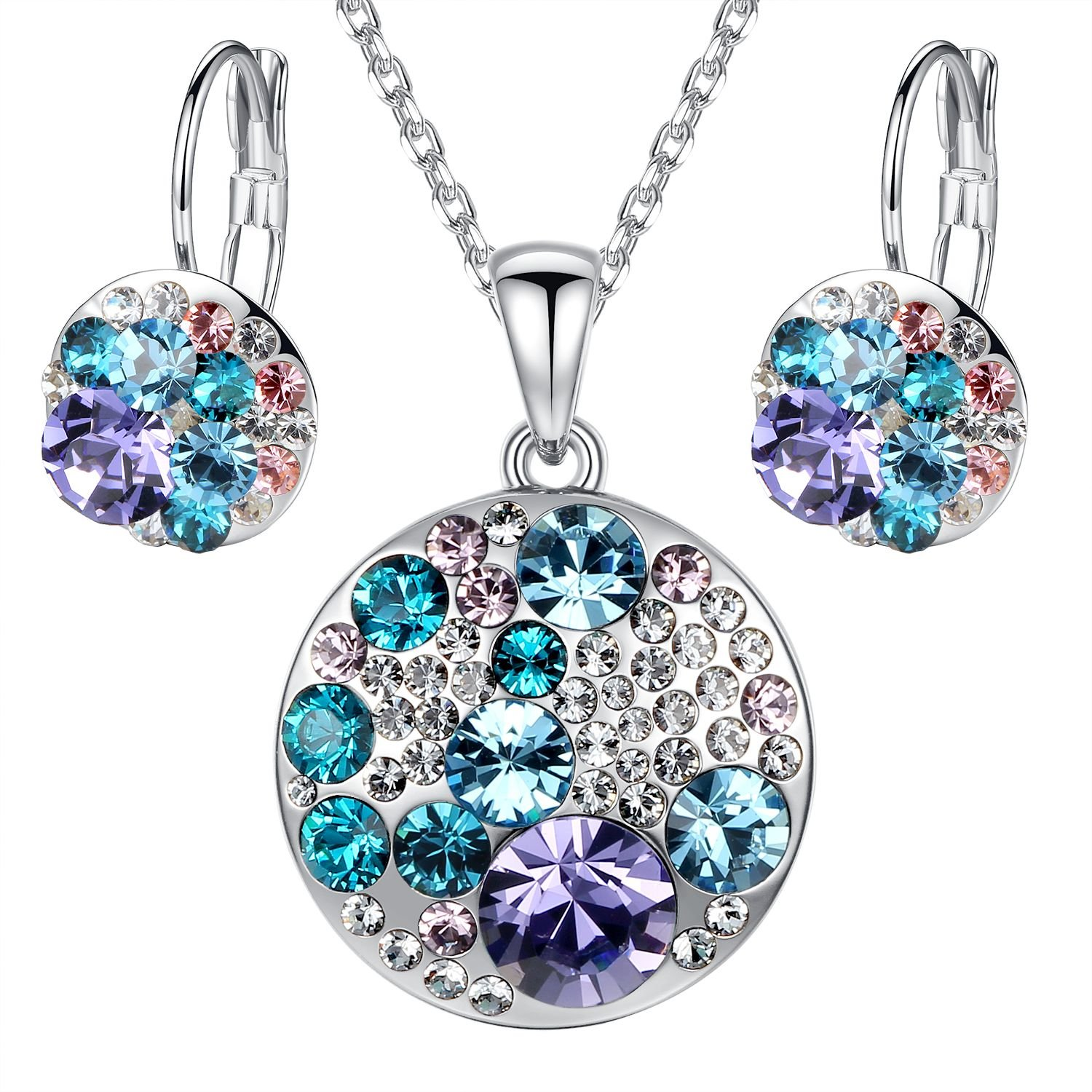 """Ocean Bubble"" Multi-stone Circle Pendant Necklace Earring Jewelry Set Made with Crystals from Swarovski, 18"" + 2"" Extender"
