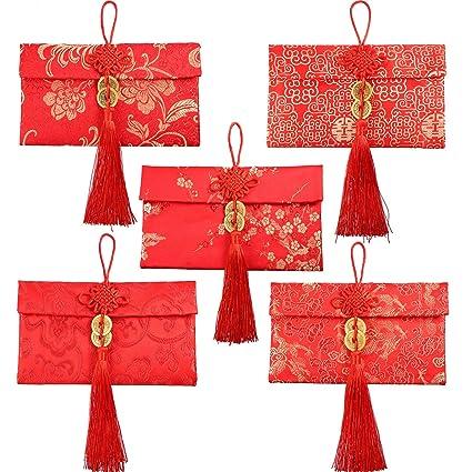 Sobres Rojos de Seda de 5 Estilos Hongbao Chino Sobre de ...