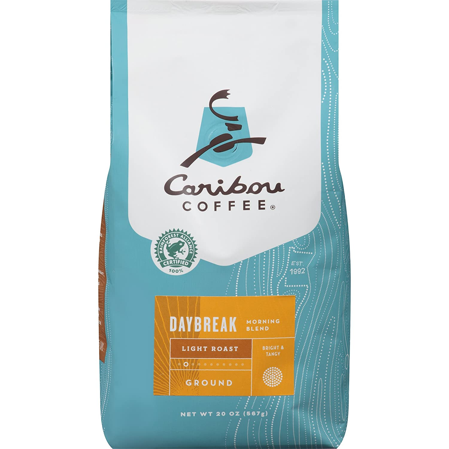 Caribou Coffee, Daybreak Morning Blend, Ground, 20 oz. Bag, Breakfast Blend of Light Roast Coffee Beans from the Americas & East Africa, Bright Body with A Smooth Finish; Sustainable Sourcing