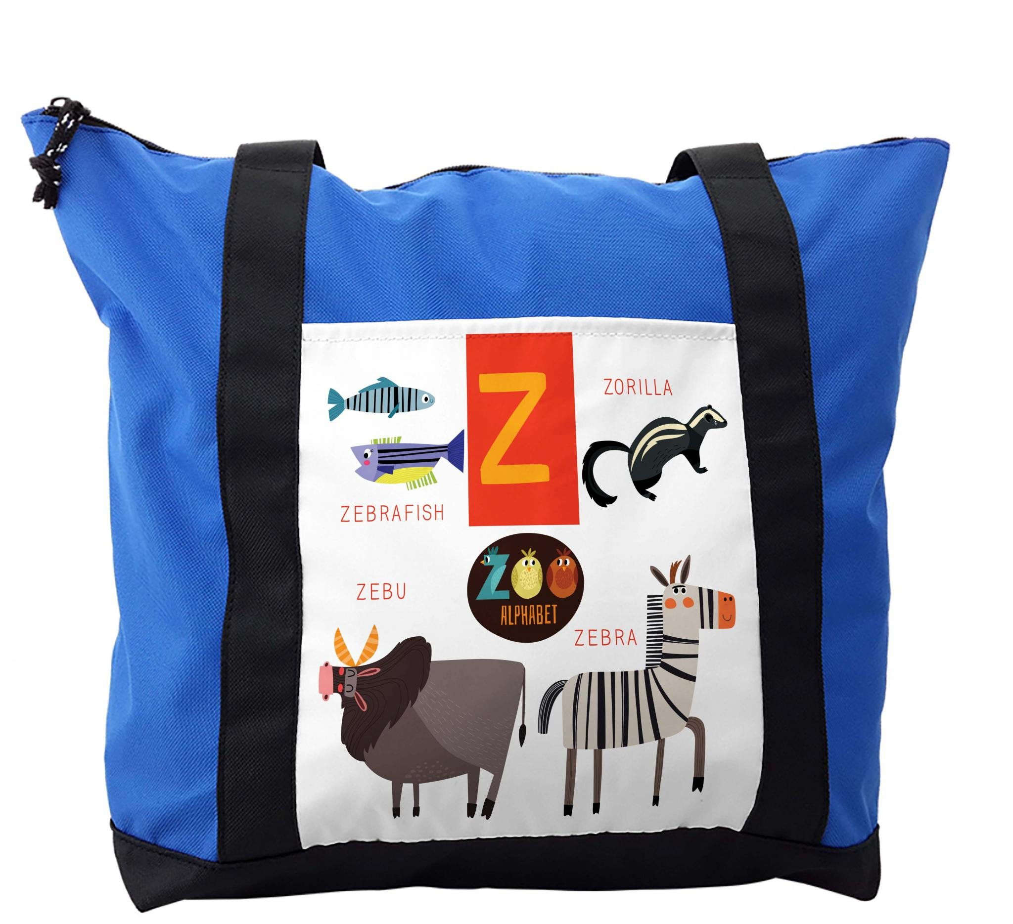 Lunarable ABC Kids Shoulder Bag, Z Letter Zebra Zorilla, Durable with Zipper