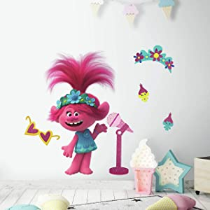 RoomMates Trolls World Tour Poppy with Glitter Peel and Stick Giant Wall Decals