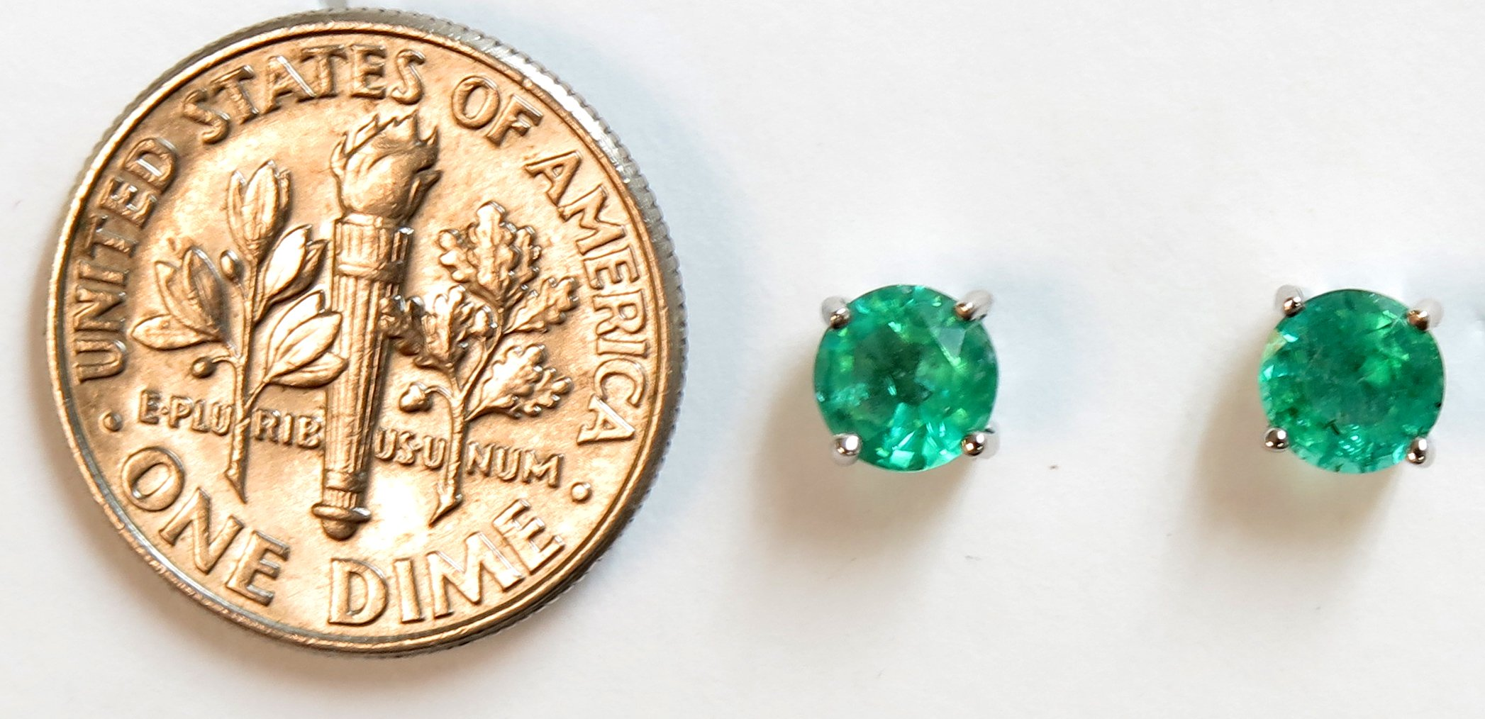 14K Solid White Gold Round 5.0mm Genuine AAA Emerald=1.00 ct. Stud Earrings by JewelMode (Image #2)