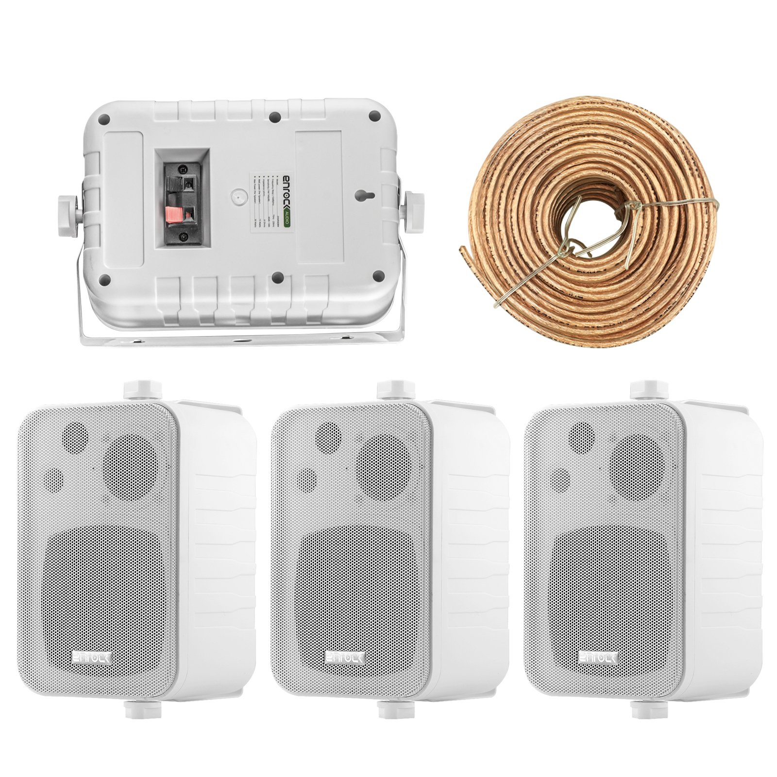 4x Speakers Bundle Package: 2 Pairs of Enrock Audio EKMR408W 4-Inch 200 Watts White 3-Way Indoor / Outdoor Marine Boat Box-Speaker Combo With 50 Foot 18 Guage Speaker Wire