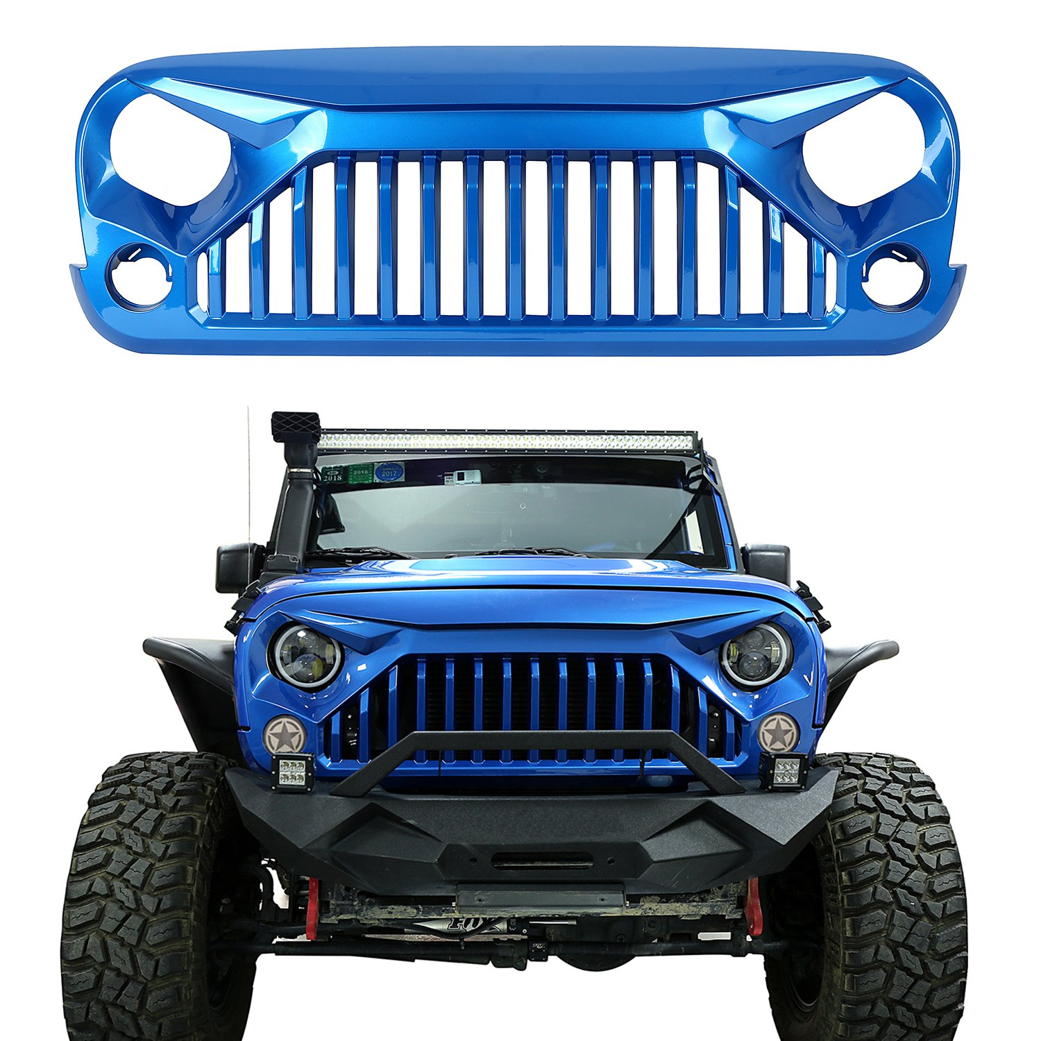 u-Box Vader Gladiator Front Grille Painted Hydro Blue for 2014-2016 Jeep Wrangler JK & Wrangler Unlimited by u-Box