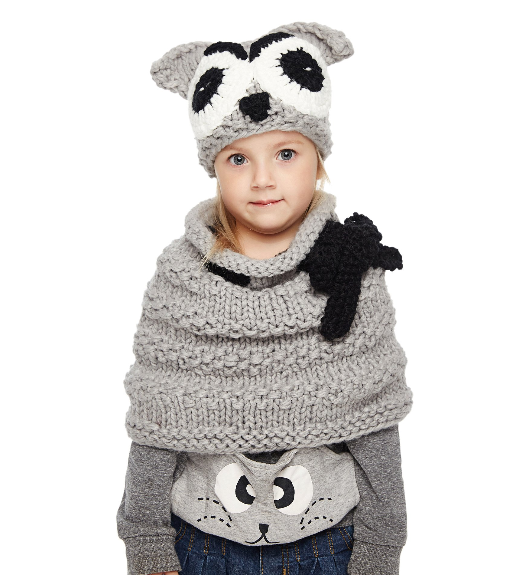 Sumolux Girls Kids Warm Owl Hats and Scarf Set Knitted Coif Hood/Shawl Beanies for Winter by Sumolux (Image #4)