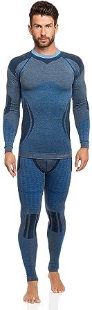 Ladeheid Herren Funktionsunterwäsche Set lange Unterhose plus langarm Shirt  thermoaktiv 50w10w20 (Blau, S/
